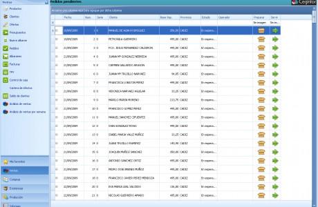 pantalla pedidos Cefactu Plus